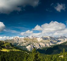 Scenic view over dolomite alps by peterwey
