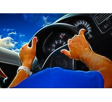 Male hands on a rudder  Photographic Print