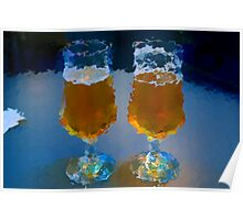 two glasses of beer on an office table Poster