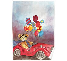 TEDDYBEAR IN RED OLDTIMER SPORTS-CAR WITH BALLOONS - Watercolour-Design Poster