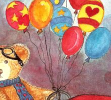 TEDDYBEAR IN RED OLDTIMER SPORTS-CAR WITH BALLOONS - Watercolour-Design Sticker
