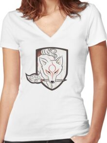 God Hound (without writing) Okami Women's Fitted V-Neck T-Shirt