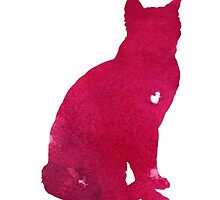 Abstract thai cat watercolor art print by Joanna Szmerdt