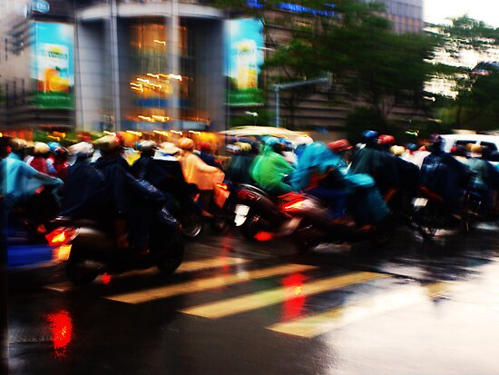 Rainbow Rush Hour In Ho Chi Minh City by DavidCThomson