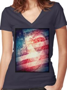 Patriotic Liberty Collage Women's Fitted V-Neck T-Shirt