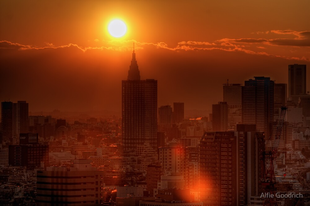 Apocalyptic sunset over Shinjuku, Tokyo, Japan by Alfie Goodrich