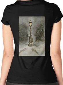 Lamp Post in Blue Women's Fitted Scoop T-Shirt