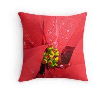 Poinsettia in the Rain Throw Pillow