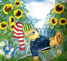 TEDDYBEAR RELAXING IN THE SUNCHAIR SURROUNDED BY SUNFLOWERS IN THE GARDEN - Watercolour-Design by RubaiDesign