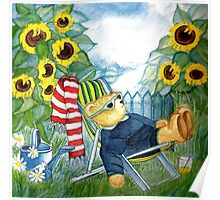 TEDDYBEAR RELAXING IN THE SUNCHAIR SURROUNDED BY SUNFLOWERS IN THE GARDEN - Watercolour-Design Poster