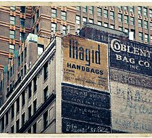 Handpainted mural advertisements of the 1940s in Manhattan, NYC - Kodachrome Postcard  by Reinvention