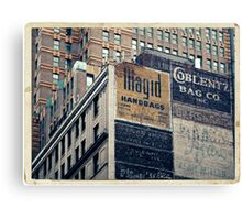 Handpainted mural advertisements of the 1940s in Manhattan, NYC - Kodachrome Postcard  Canvas Print