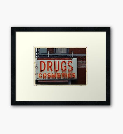 Drugstore Neon Sign in the East Village - Kodachrome Postcards  Framed Print