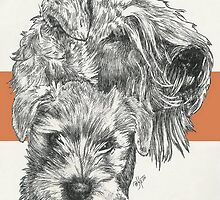 Soft-Coated Wheaten Terrier Father & Son by BarbBarcikKeith
