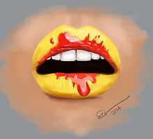 Red and Yellow Lips by chloeswingewood