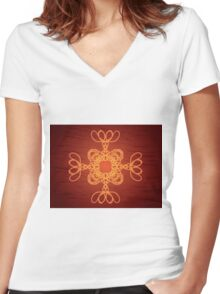 Dark brown ornament 2 Women's Fitted V-Neck T-Shirt