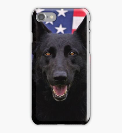 Black German Shepherd - U.S.A. iPhone Case/Skin