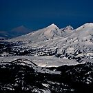 Aerial view of the Three Sisters peaks, Cascade mountain range, Oregon by Kay Martin