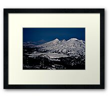 Aerial view of the Three Sisters peaks, Cascade mountain range, Oregon Framed Print