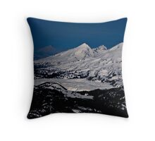 Aerial view of the Three Sisters peaks, Cascade mountain range, Oregon Throw Pillow