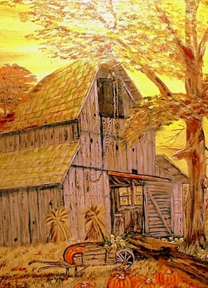 Old Barn & Wheelbarrow by KenLePoidevin