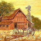 Old Barn,  Windmill & old Rake by KenLePoidevin