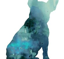 Abstract frenchie silhouette watercolor poster by Joanna Szmerdt