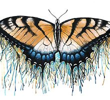 Drip Dry Beauty - Swallowtail Butterfly with Paint Drips by DanielleTrudeau
