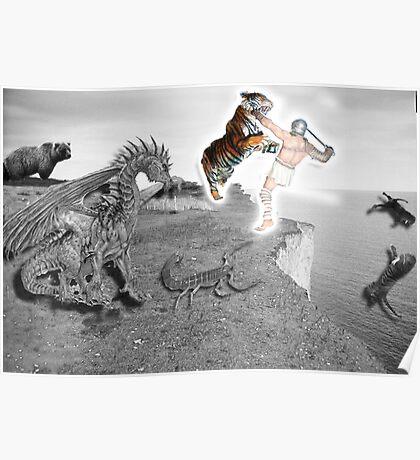 Man vs Beast Symbolic Self Portrait Poster