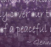 Snowflakes Drifting down haiku, purple texture Sticker