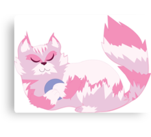 pink cat playtime  Canvas Print