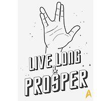 Live Long and Prosper - Leonard Nimoy - Star Trek - White Shirt Photographic Print