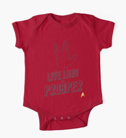 Live Long and Prosper - Leonard Nimoy - Star Trek - White Shirt One Piece - Short Sleeve