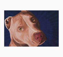 Red Nose Pit Bull Painted on Blue Background Kids Clothes