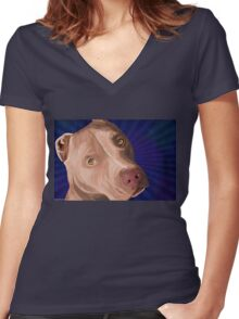 Red Nose Pit Bull Painted on Blue Background Women's Fitted V-Neck T-Shirt
