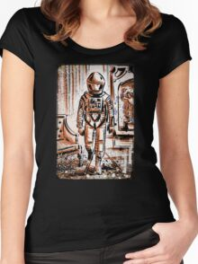 2001 A Space Odyssey Art Stanley Kubrick film movie director sci fi science fiction drawing illustration joe badon stars Christmas Women's Fitted Scoop T-Shirt