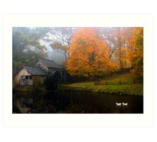 grist mill with ducks Art Print