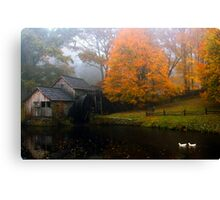 grist mill with ducks Canvas Print
