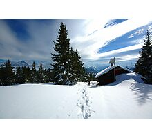 Snowshoeing  Photographic Print