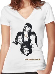 GOLDEN TALONS Women's Fitted V-Neck T-Shirt