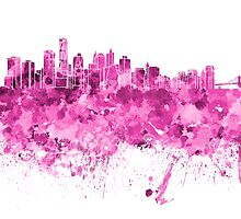 New York skyline in pink watercolor on white background by paulrommer