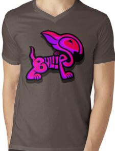 Bullies Letter Character Red Pink and Purple  Mens V-Neck T-Shirt