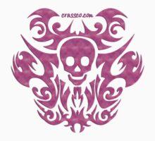 skull tattoo pink by fuxart