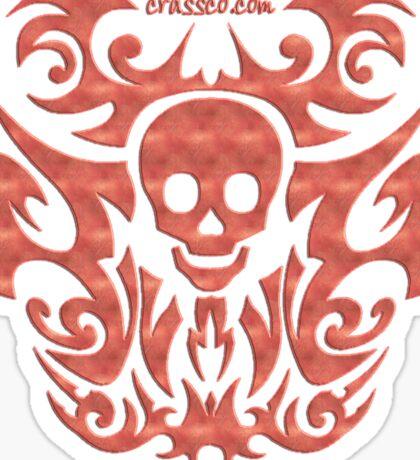 skull tattoo orange Sticker