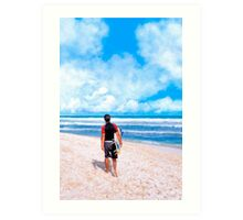 Surfer Gazing At The Horizon at Playa del Carmen Art Print