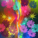 Whimsical flowers on an abstract background by walstraasart
