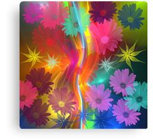 Whimsical flowers on an abstract background Canvas Print