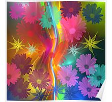 Whimsical flowers on an abstract background Poster