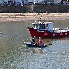 Two men in a boat. by John (Mike)  Dobson