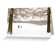 Winter scene outside in the snow Greeting Card